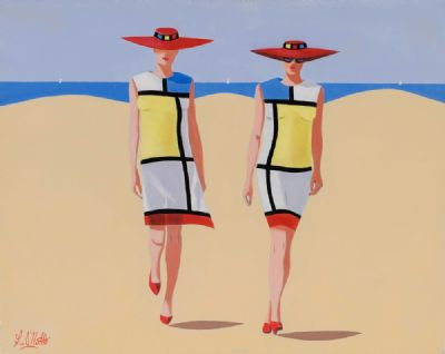 MONDRIAN LADIES by Ken O'Neill  at Dolan's Art Auction House
