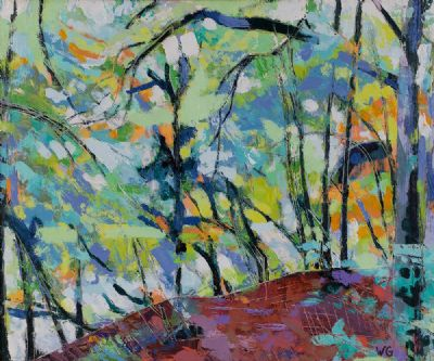 WATER'S EDGE, SUNLIGHT IN THE TREES by William Grace  at Dolan's Art Auction House