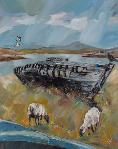 OLD WRECK & CROW, NEAR ROUNDSTONE by Douglas Hutton  at Dolan's Art Auction House
