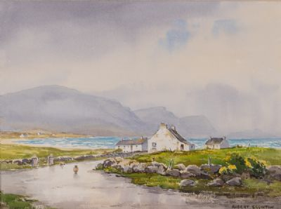 COTTAGES AT KEEL, ACHILL by Robert Egginton  at Dolan's Art Auction House