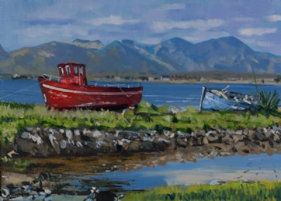 BOATS NEAR ROUNDSTONE by Henry Morgan  at Dolan's Art Auction House