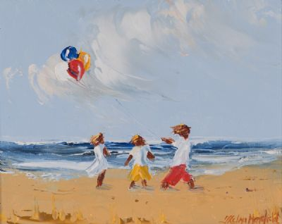 BALLOONS ON THE BEACH by Thelma Mansfield  at Dolan's Art Auction House