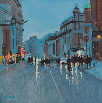 STROLLING THROUGH CITY STREETS by John Morris  at Dolan's Art Auction House