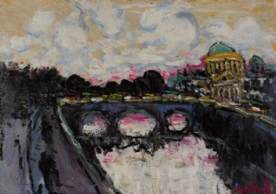 SUNSET ON THE LIFFEY & FOUR COURTS by Marie Carroll  at Dolan's Art Auction House
