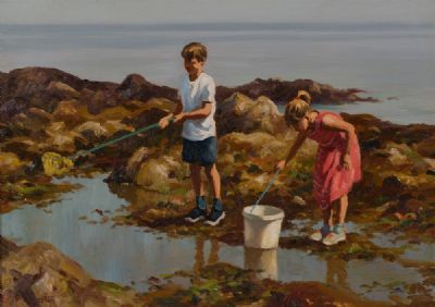 CHILDREN IN THE ROCKPOOLS by Donal McNaughton  at Dolan's Art Auction House