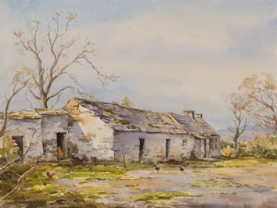 OLD FARM COTTAGE by Robert Egginton  at Dolan's Art Auction House