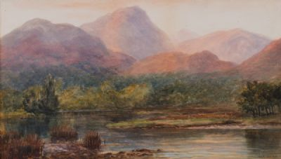 SOFT EVENING GLOW ON THE HILLS by Alexander Williams RHA at Dolan's Art Auction House