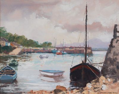 ROUNDSTONE HARBOUR, AT FULL TIDE by Dennis Orme Shaw  at Dolan's Art Auction House