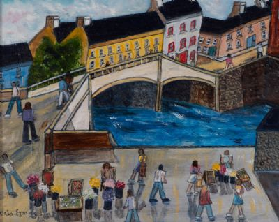 FLOWER SELLERS IN BOYLE by Orla Egan  at Dolan's Art Auction House