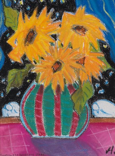 SUNFLOWERS & STARS by Annie Robinson  at Dolan's Art Auction House