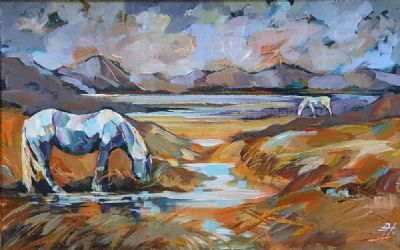 PONIES ON INISHNEE by Douglas Hutton  at Dolan's Art Auction House