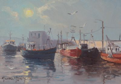 FISHING BOATS IN HARBOUR by Michael McCarthy  at Dolan's Art Auction House