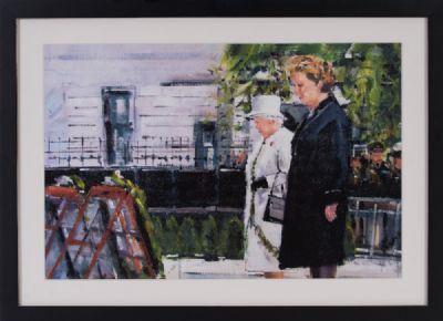 THE QUEEN & MARY McALEESE, THE GARDEN OF REMEMBRANCE & DROMOLAND CASTLE, CO CLARE by Michael Hanrahan  at Dolan's Art Auction House