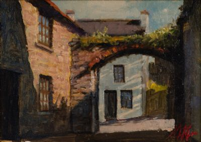 OLD FARM BUILDINGS IN SUNLIGHT by Mat Grogan  at Dolan's Art Auction House