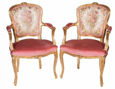Ornate Giltwood Style Armchairs at Dolan's Art Auction House