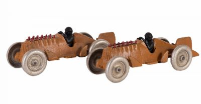 Pair of Cast Iron Racing Cars at Dolan's Art Auction House