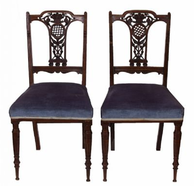 Ornate Mahogany Salon Chairs at Dolan's Art Auction House