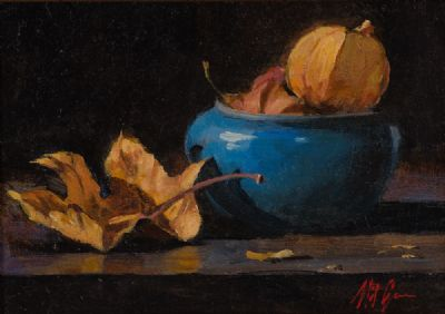 BLUE BOWL & CHINESE LANTERNS by Mat Grogan  at Dolan's Art Auction House
