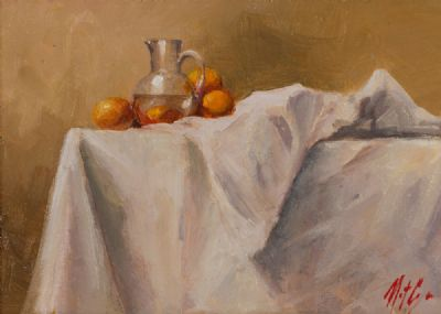 ORANGES DRAPED ON WHITE by Mat Grogan  at Dolan's Art Auction House