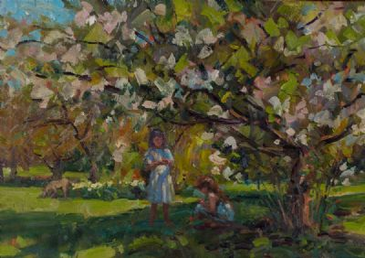 GATHERING FLOWERS IN THE GARDEN by Norman Teeling  at Dolan's Art Auction House