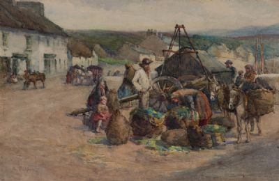 MARKET DAY, ROUNDSTONE by Lady Kate Dobbin  at Dolan's Art Auction House