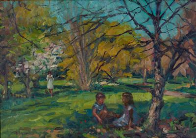 CHILDREN IN THE GARDEN by Norman Teeling  at Dolan's Art Auction House