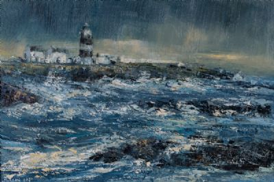 HIGH SEAS OFF THE HOOK LIGHT by Henry Morgan  at Dolan's Art Auction House