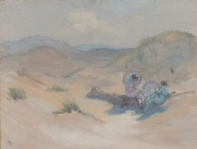 GIRLS ON A BEACH, IN PINK & BLUE by George Russell AE at Dolan's Art Auction House