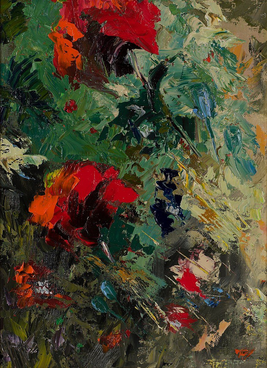 Lot 52 - RED RED POPPIES by Susan Cronin, b.1965