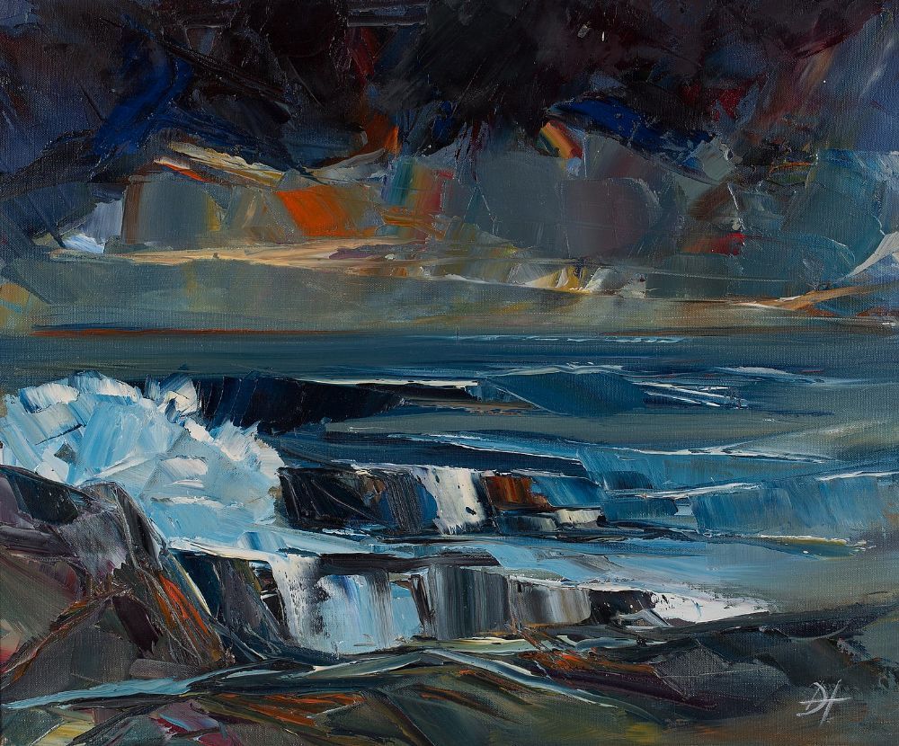Lot 62 - WAVES BREAKING AT MULLAGHMORE, EVENING by Douglas Hutton, b.1950