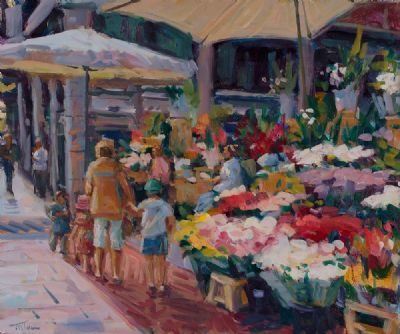 FLOWER SELLERS ON GRAFTON STREET by Norman Teeling  at Dolan's Art Auction House