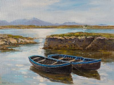 BOATS IN THE OLD HARBOUR, ROUNDSTONE by Robert Egginton  at Dolan's Art Auction House