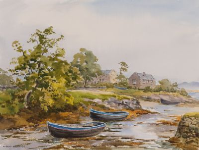 THE OLD HARBOUR, ROUNDSTONE, AT LOW TIDE by Robert Egginton  at Dolan's Art Auction House