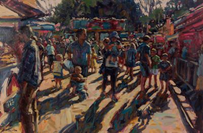 HOT SUMMER'S DAY, AT THE MARKET by Norman Teeling  at Dolan's Art Auction House