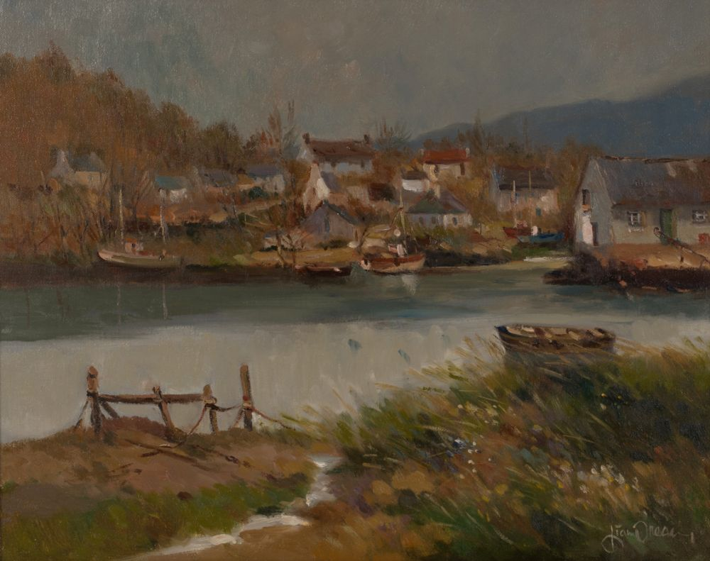 HARBOUR WITH BOATS by Liam Treacy  at Dolan's Art Auction House