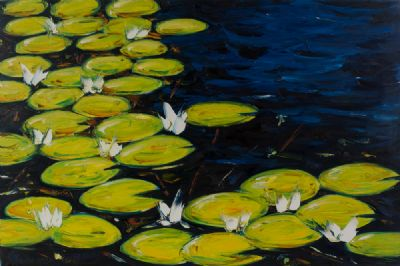 WARERLILIES by Michael Flaherty  at Dolan's Art Auction House