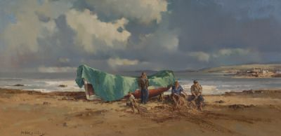 MENDING NETS ON THE WEST COAST by Arthur Twells RUA at Dolan's Art Auction House