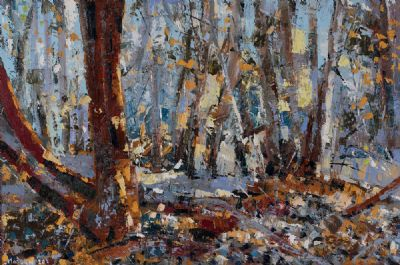 SILVER BLUE LIGHT IN THE WOODS by Henry Morgan  at Dolan's Art Auction House