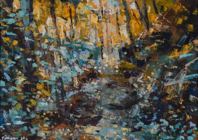 GOLDEN WOODLAND PATH by Henry Morgan  at Dolan's Art Auction House