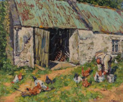 FEEDING THE HENS by James Brohan  at Dolan's Art Auction House