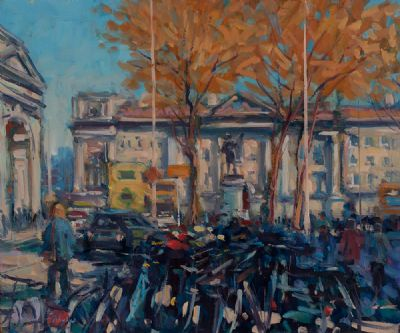 BICYCLES AT TRINITY by Norman Teeling  at Dolan's Art Auction House