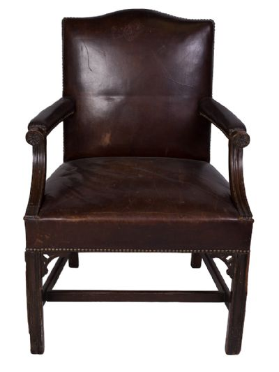 Mahogany Leather Armchair at Dolan's Art Auction House