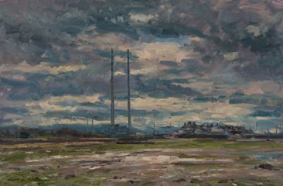 EVENING SKY OVER DUBLIN by Norman Teeling  at Dolan's Art Auction House