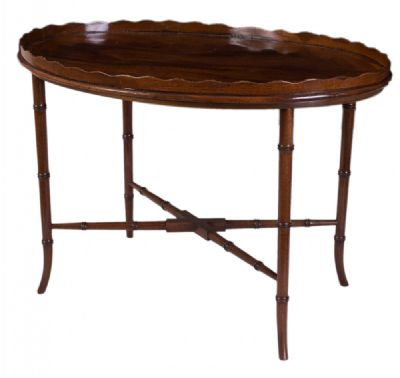 Mahogany Oval Tray on Stand at Dolan's Art Auction House