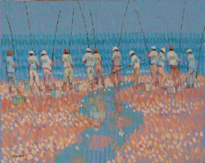 FISHING ON CORAL BEACH by Desmond Carrick RHA at Dolan's Art Auction House