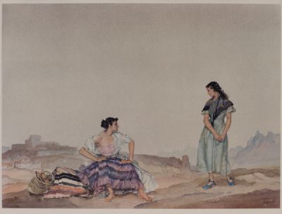 GIRLS IN A SPANISH LANDSCAPE by Sir William Russell Flint RA at Dolan's Art Auction House