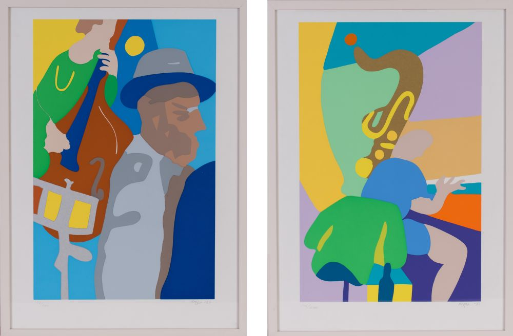 CELLO PLAYER & SAX (A Pair) by Tom Kr�jer (Danish Artist) at Dolan's Art Auction House