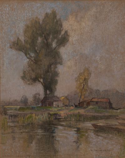 RIVER LANDSCAPE WITH COTTAGES & FIGURES by William Redworth PS at Dolan's Art Auction House