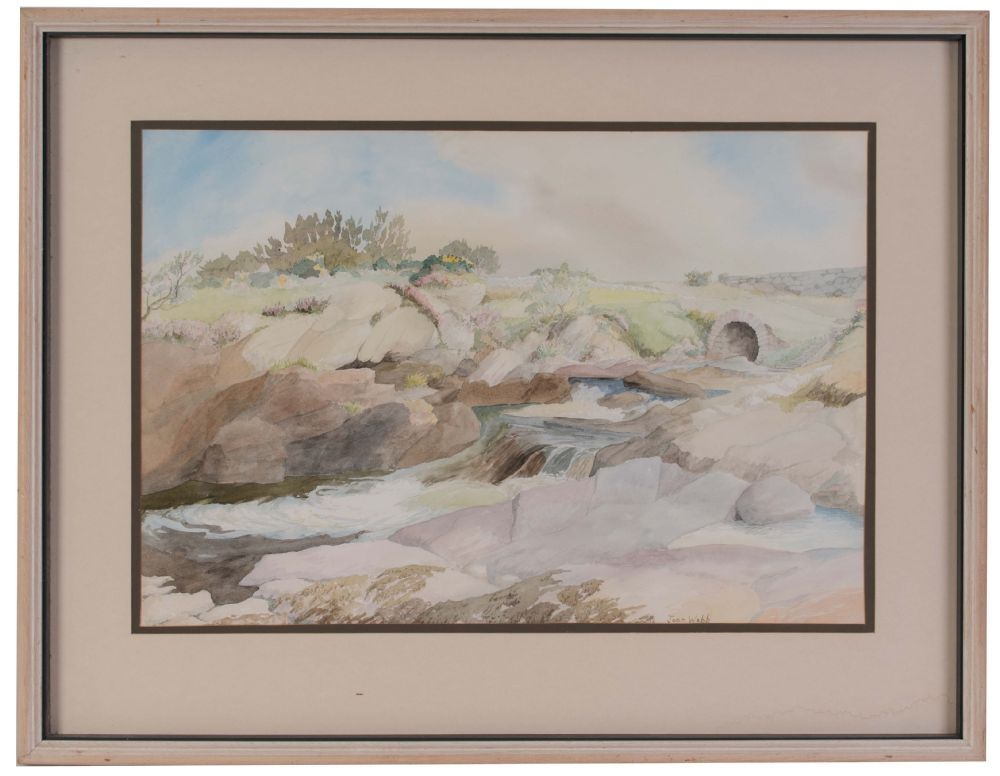 FLOWING DOWN TO THE SEA AT TULLYCROSS, CONNEMARA by Joan Webb  at Dolan's Art Auction House