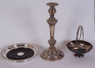 Silver Plated Candlestick etc at Dolan's Art Auction House